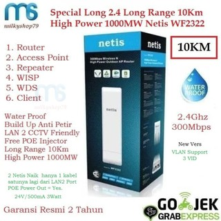 Netis WF2322 High Power 300Mbps 10Km DUAL POE IN / OUT Persamaan Tenda O3 / CP300 / CPE220