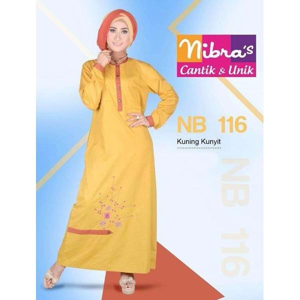 BARU Busana Gamis Modern Murah Nibras NB 116 Kuning (ORIGINAL) Cari Gamis