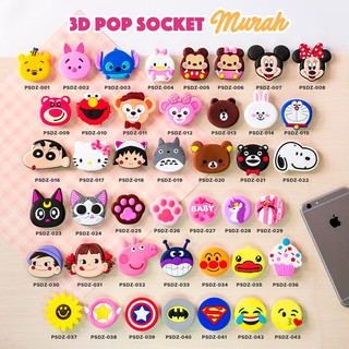[Kode 021-040] Pop Socket 3D Karakter/ Pop Socket PVC Motif (MURAH)