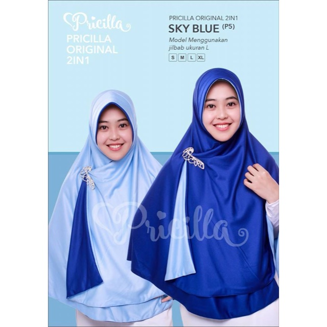 Jilbab Bolak Balik 2 Warna Pricilla (Sky Blue)