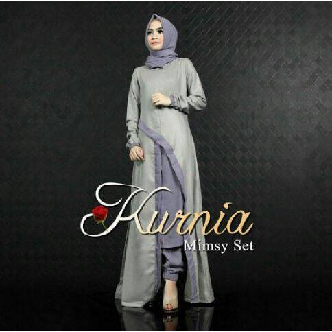 Trend! Baju Busana Muslim Wanita Setelan Kurnia Mimsy Sett Abu Grey