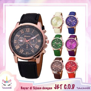 TU88 Jam Tangan Geneva Fashion Pria Wanita Leather Quartz Model Tali Kulit Jam Fashion Watch - J004