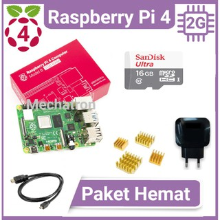 Raspberry Pi 4 model B 2GB Paket Hemat Siap Pakai Made in UK Pi4 2 GB