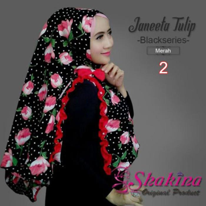 Jilbab Shakina Janeeta Tulip Black Series Ori | Aa555 Baru