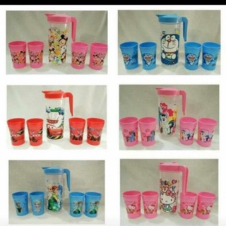 Teko Set Karakter / Teko Set Gelas Beranak Hello Kitty Doraemon Keropi Tayo Little Pony