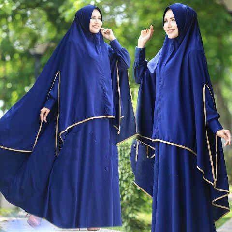 [Syari Zulfa Biru Sw] Pakaian Muslim Wanita Jersey Biru