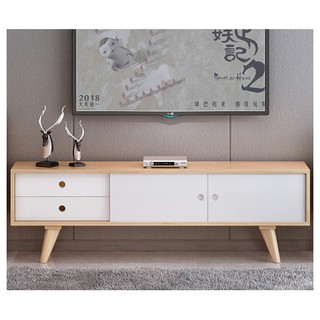 A Furniture Meja TV Modern Minimalis Ruang Tamu Kayu Mahoni  Solid Putih (Ready Stock)