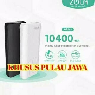 ZOLA Powerbank Alpha 10400mAh Fast Charging 2.1A Dua Output