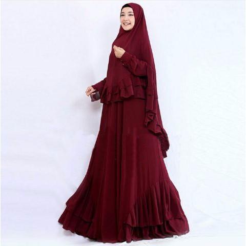 PROMO SPESIAL [Syari Salwa Maron SW] pakaian muslim wanita jersey maroon BEST SELLER