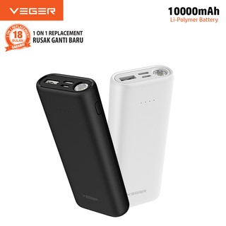 VEGER Powerbank X105 10000mAh Smallest Flashlight 1.0W Fast Real Capacity Power Bank