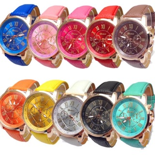 J-100 Jam tangan geneva leather quartz jam tangan wanita fashion