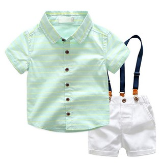 Summer Kids Gentleman Striped Shirts Casual Braces Shorts Party 2pcs Clothes Set