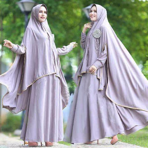 [Syari Zulfa Abu Sw] Pakaian Muslim Wanita Jersey Abu