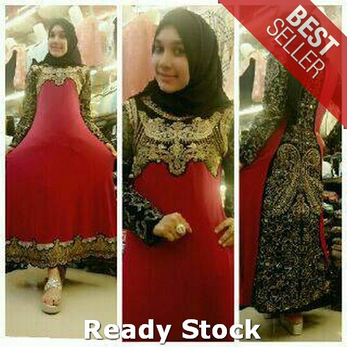 abaya india jersye  full bordir Termurah