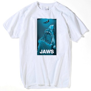 100% Cotton Tshirt diy Vintage Movie Jaws Design High Quality Hipster Shark Print Tees