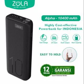 Powerbank ZOLA Alpha 10400mAh Fast Charging 2.1A Dua Output-Black