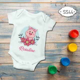 Jumper Baby Girl boy newborn Cute Piggy Floral Pinky Custom name nama bebas