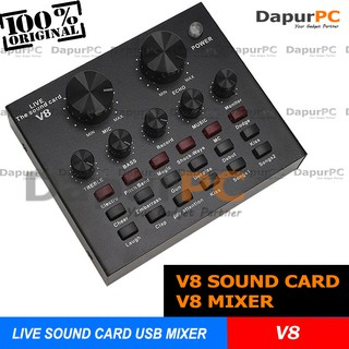 V8 The Live External Audio Soundcard USB MIXER Broadcast
