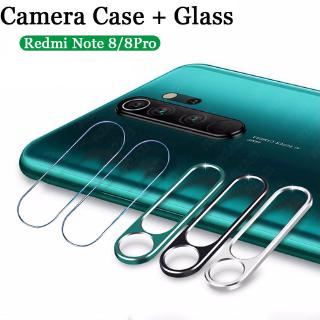 For Xiaomi Mi Redmi Note 8 Pro Camera Lens Metal Ring Protector+Tempered Glass