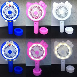 Kipas Angin Lampu Led Hand Mini Fan Usb Portable Karakter