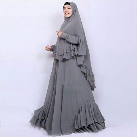 [Syari Salwa Abu Sw] Pakaian Muslim Wanita Jersey Abu