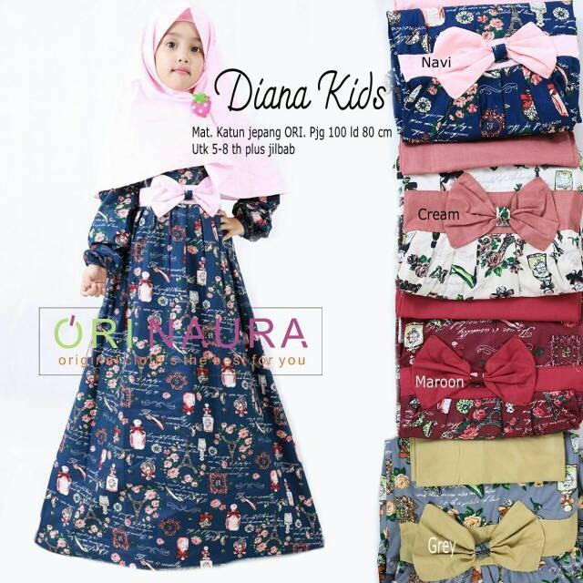 DRESS Baju Gamis Anak Diana Kids Ori Naura Longdress