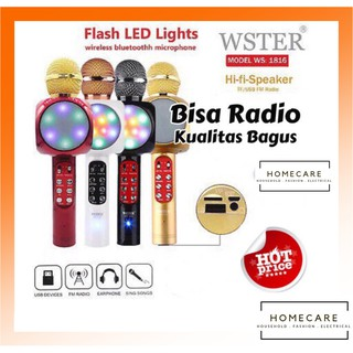 HC WS-1816 Mic Wireless Bluetooth Karaoke LED RGB / WS1816 Microphone Speaker KTV Efek USB Player