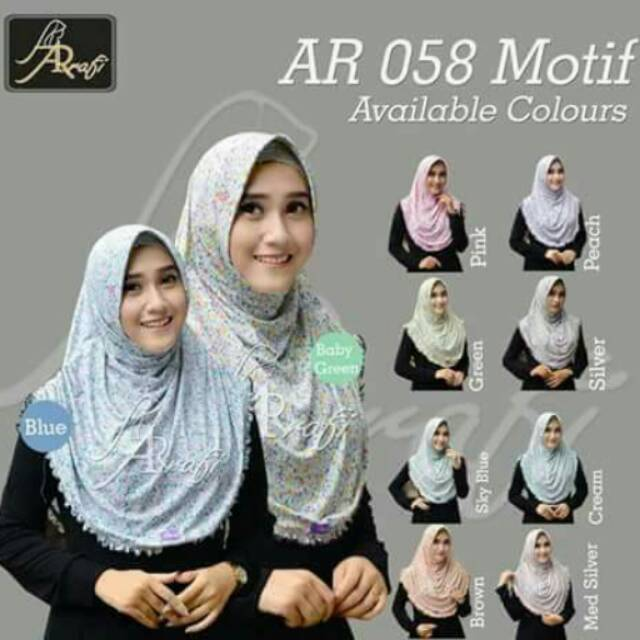 Hijab Arrafi kode 058 motif bunga kerut samping