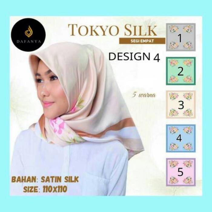 Terbaru Hijab Kerudung Jilbab Segi Empat Satin Seri Tokyo Silk Desain 4 Jlms01 Bahan Jatuh