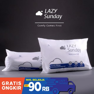 Paket 1 Bantal + 1 Guling Tidur LAZY Sunday , BEST DEAL !! Top Quality !!