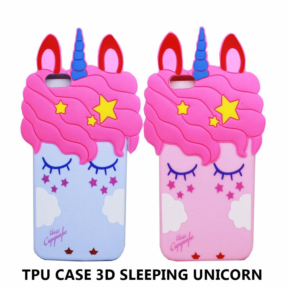 TpuSoftCase3dSleepingUnicornIphone78PlusOppo