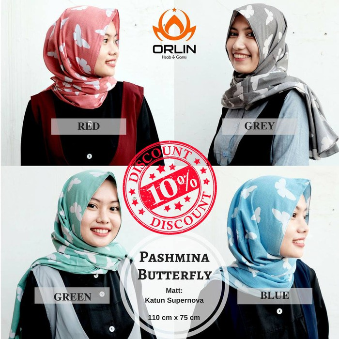 Murah Meriah Hijab  Khimar  Pashmina Butterfly Sklx1 Bahan Berkualitas