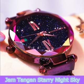 Jam Tangan Wanita Murah Magnet Wanita Quartz Analog Starry Sky Tali Stainless Steel Anti Air Watch