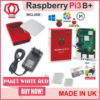Raspberry Pi3 Pi 3 Model b+ 3b+ Plus Paket Merah Putih Official Case