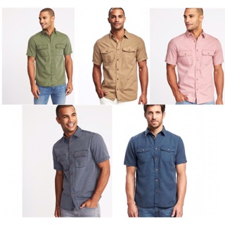 2 Pockets Short Sleeve Garment Dyed Shirts