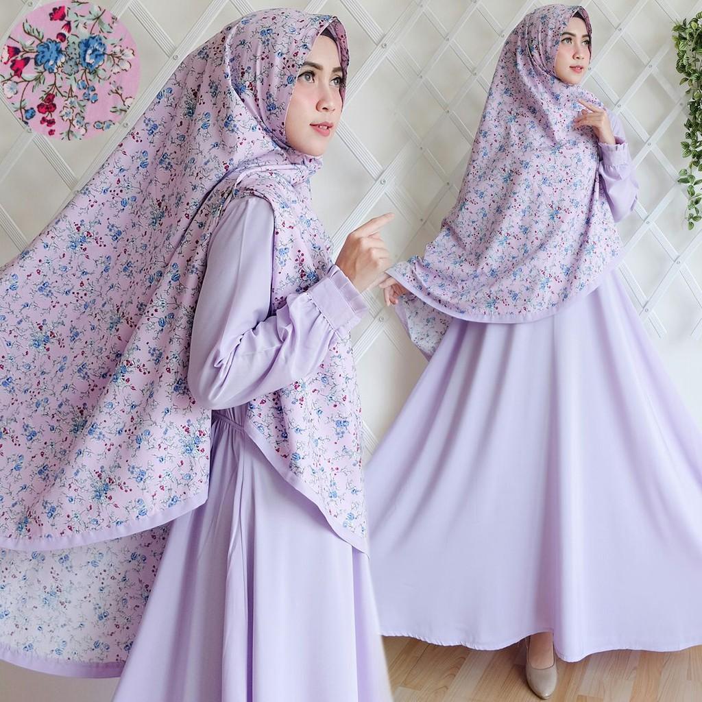 LAVENDER Set Gamis Syari Wolfis Khimar Bunga Resleting Depan Baju Busana Muslimah Elegan Limited