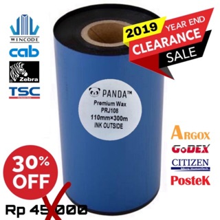 PREMIUM WAX 110X300 OUT BARCODE RIBBON PRINTER LABEL WINCODE-TSC-ZEBRA-SATO-ARGOX-GODEX-TEC-POSTEK