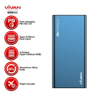 Powerbank VIVAN Power Bank 10000mAh Dual USB Two Way 18W Quick Charge 2 Input 3 Output