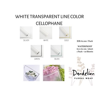 FLOWER WRAPPING WHITE TRANSPARENT LINE COLOR KERTAS PEMBUNGKUS BUNGA (ECER)
