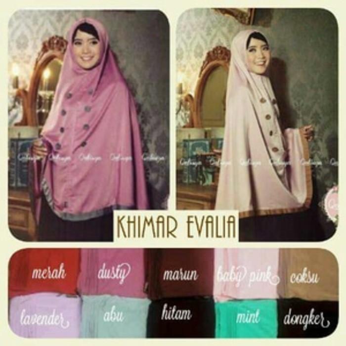 Hijab Terbaru Jilbab Kerudung Khimar Evalia Premium Free Inner Kerut Siria Evalia Velvet Jilbab