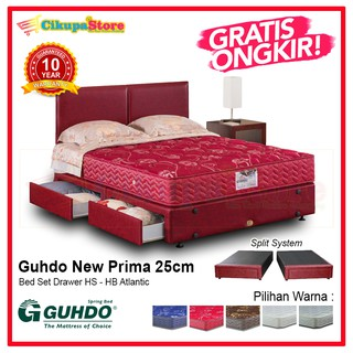 Springbed Guhdo New Prima Drawer HB Atlantic - BED SET (Kasur Divan Laci Sandaran)