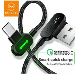 MCDODO Led Type C to USB Cable 50 Cm Fast Charging L Shape LED QC 3.0