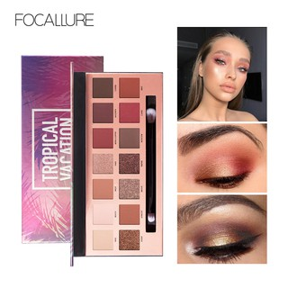 FA49 FOCALLURE Tropical Vacation Eyeshadow Palette With Brush- 14 Colors