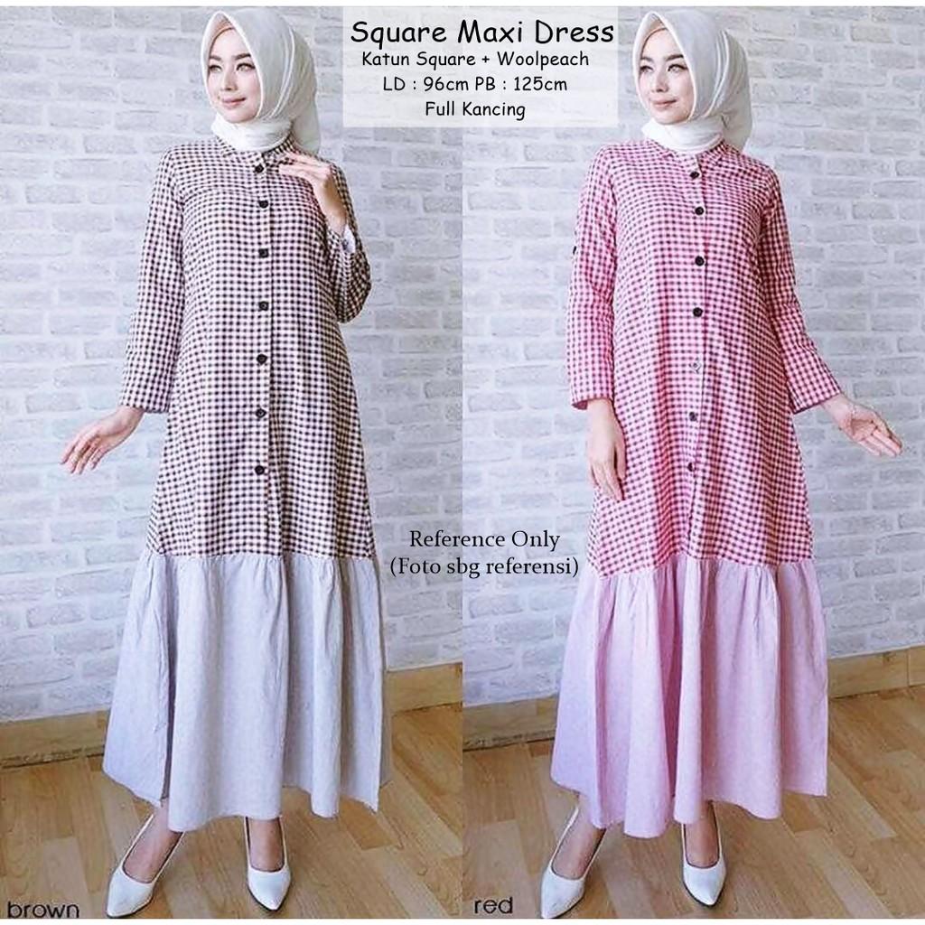 Baju Wanita Fashion Muslim Gamis Square Maxi Dress Brown Red