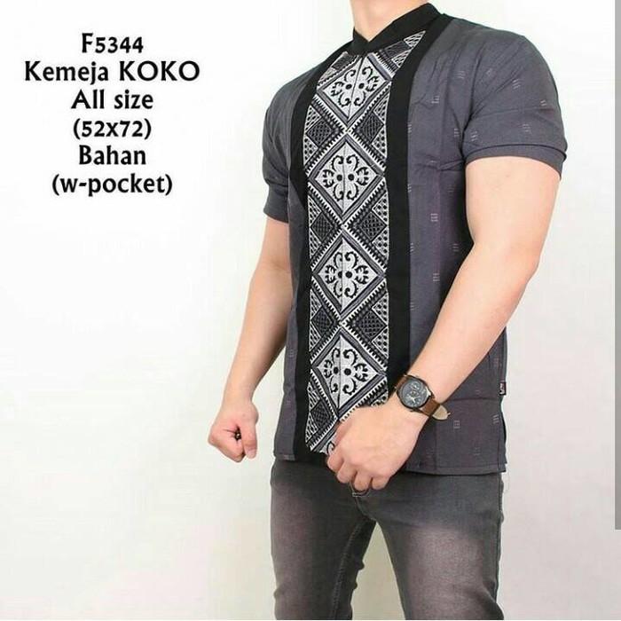 Kemeja Koko Abu Batik pria lengan pendek