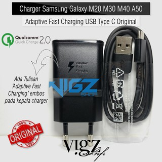 Charger Samsung Galaxy M20 M30 M40 A50 A20 Adaptive Fast Charging USB Type C Original 100%