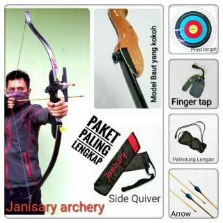 FULL SET Busur Panah Dewasa + 2 Arrow + Quiver + arm guard + finger tap + Target + buku petunjuk