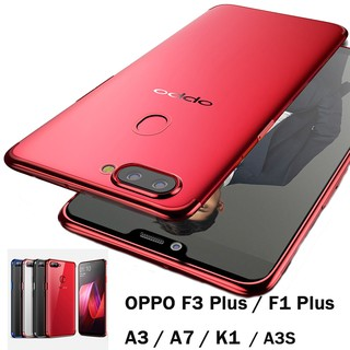 ( Ready ) Case hp OPPO A3S A7 A5S F1 F3 Plus A3TPU Phone Casing Plating Clear Shockproof Back Cover