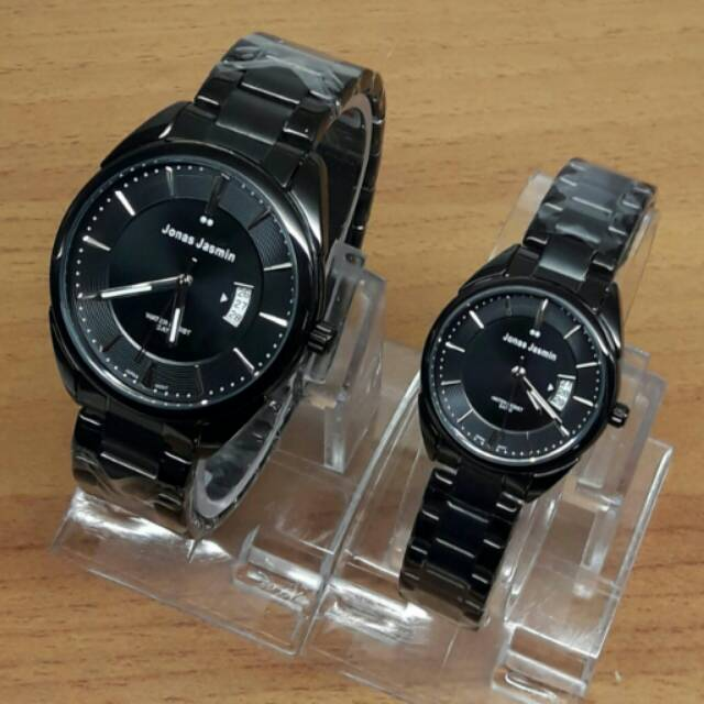 BTC Group/// Jam Tangan Couple Jonas Jasmin JJ2067 Rantai Tanggal Original Full Black