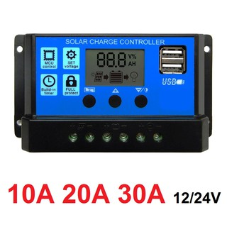 Solar Charge Controller LCD LED Display Solar cell PWM 12V/24V 10A 20A 30A USB Panel Surya Charger